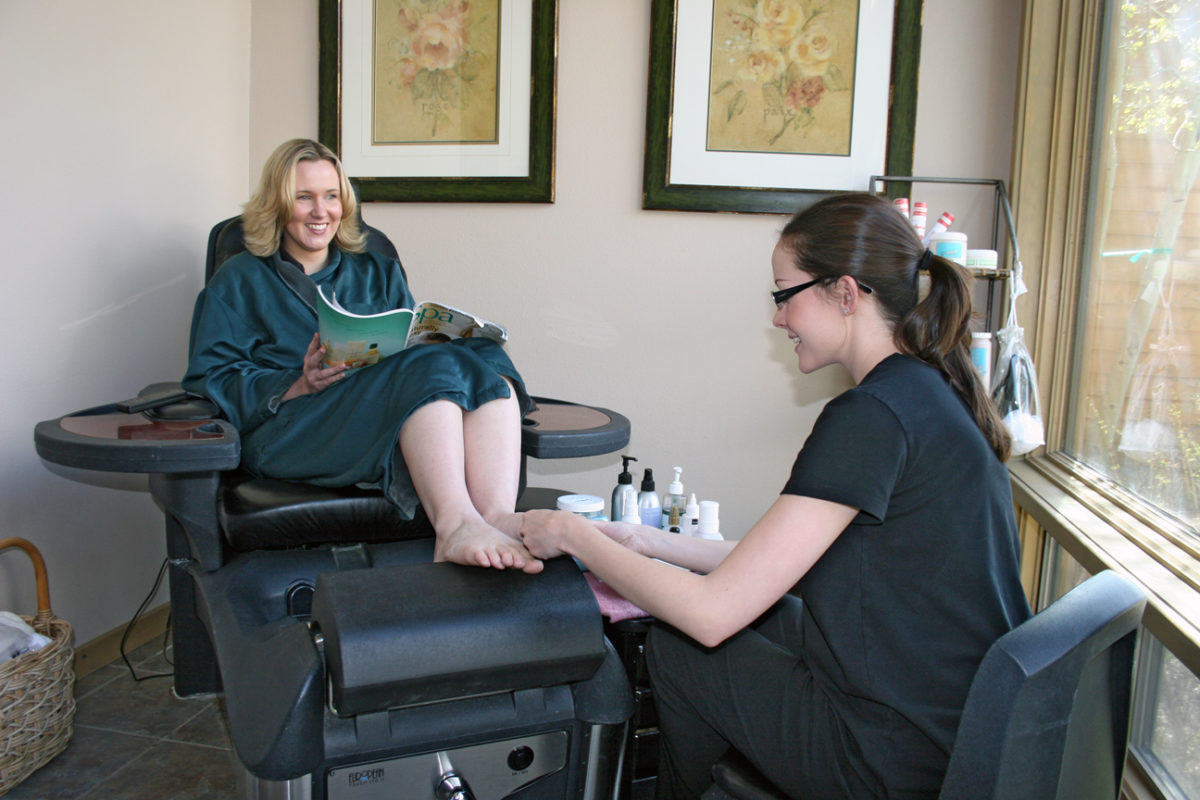 An image of a woman receiving a pedicure at the Creekside Spa in June Lake, California.