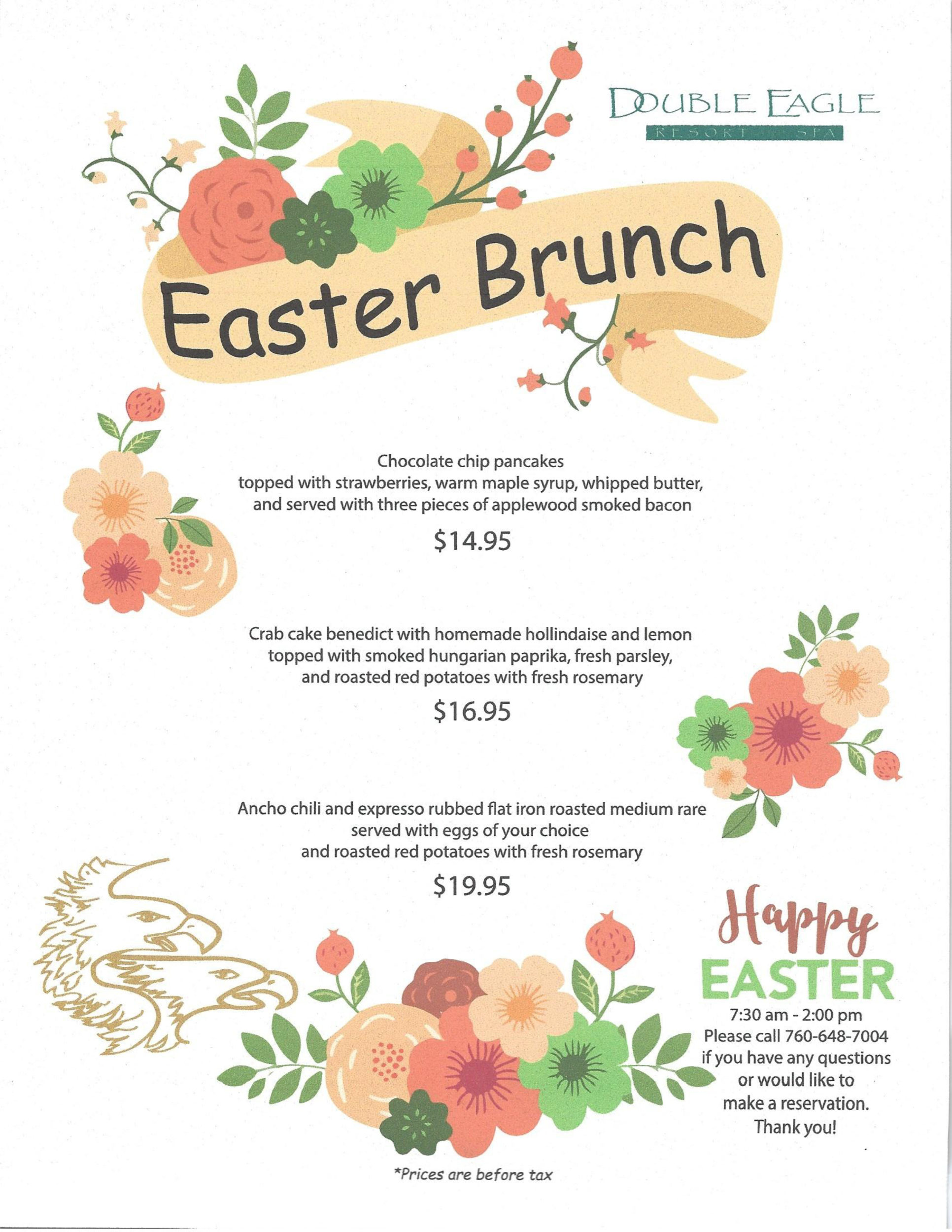 Special menus double eagle resort and spa for Easter brunch restaurant menus