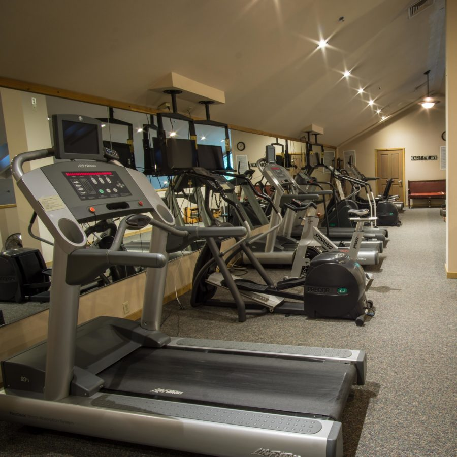 An image of cardio exercise equipment at the Creekside Spa in June Lake, California