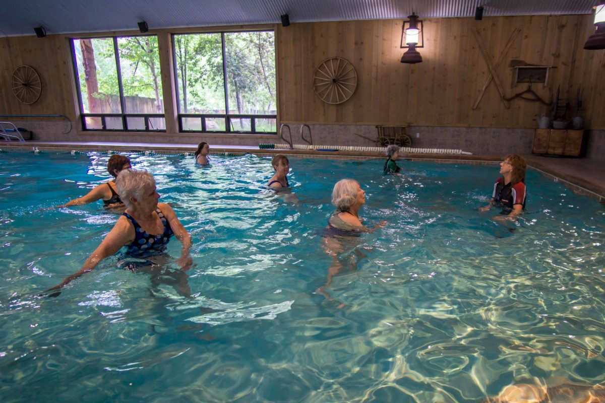 An image of some people attending a water aerobics class at the Double Eagle Resort and Spa in June Lake, California